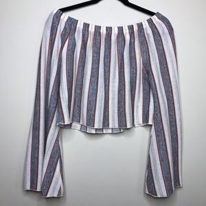 Zara | Striped Off the Shoulder Bell Sleeve Top